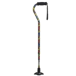 Self Standing Offset Handle Aluminum Cane - Summer Garden