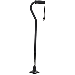 Self Standing Offset Handle Aluminum Cane - Black
